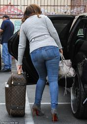 Leah Remini - Back Shots Arriving At DWTS rehearsal in L. A.(10/26/13)