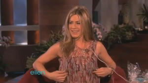 Jennifer Aniston tests out a bra vibrator Image
